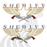 警长徽章和枪2 免版税图库摄影