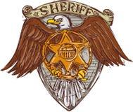 警长徽章美国老鹰盾图画 免版税库存图片