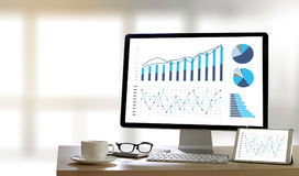统计分析企业数据图成长增量市场 免版税库存照片