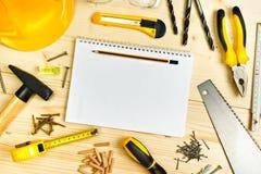 计划在木匠业和木制品产业的一个项目 图库摄影