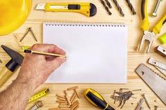 计划在木匠业和木制品产业的一个项目 免版税图库摄影