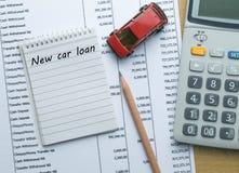 计划的新的汽车贷款费用 免版税库存照片