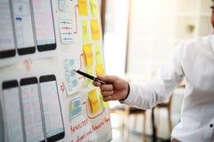 计划的网站设计师创造性的图表会议应用手机 用户经验概念 免版税库存图片