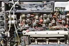 计划老收音机,无线电零件 图库摄影