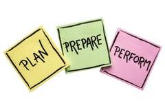 计划,准备,执行笔记集合 免版税库存照片