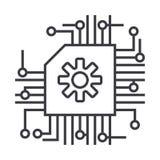 计划, ai,人工智能传染媒介线象,标志,在背景,编辑可能的冲程的例证 向量例证