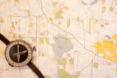 计划, compas,映射 免版税库存图片