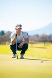 计划他的射击的观点的高尔夫球运动员对别针 库存图片