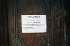 计划Vigipirate安全措施在法国 库存照片