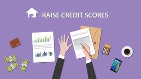 计数培养在文书工作的人的例证信用评分与金钱,在桌顶部的文件夹文件 免版税库存照片
