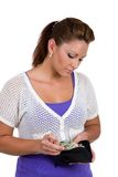计数她的货币 免版税图库摄影