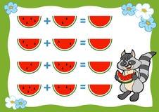 计数学龄前孩子的比赛 加法活页练习题 库存照片