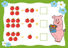 计数孩子的比赛 减法活页练习题 库存图片