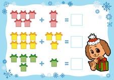 计数孩子的比赛 加法活页练习题 圣诞节礼品隔离白色 库存照片