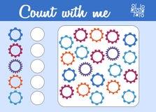计数孩子的比赛 教育一场数学比赛 计数多少个钝齿轮和写结果 向量例证