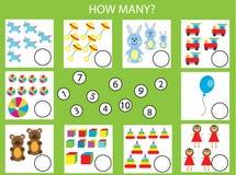 计数教育儿童比赛,孩子活动 多少个对象分配 库存照片