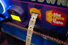 计数机器的拱廊票 免版税库存图片