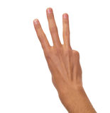 计数男性的手-三个手指 免版税库存图片