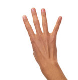 计数男性的手-四个手指 免版税库存图片