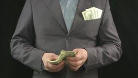计数美元的商人 成功,金钱,事业,起动 股票视频