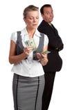 计数货币的女实业家 库存图片