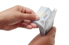 计数货币的胳膊 免版税库存图片