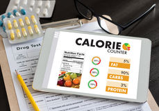 计数逆应用医疗吃的卡路里健康死 库存图片