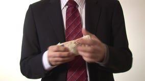 计数金钱的一个人的储蓄英尺长度 股票视频