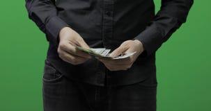 计数金钱绿色屏幕 给金钱现金,接受礼物概念 股票录像