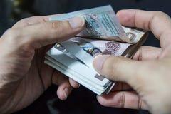 计数金钱,泰国金钱, 1000泰铢 免版税库存照片