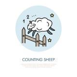 计数绵羊例证 现代传染媒介线跳跃的绵羊象  失眠线性商标 睡眠问题的概述标志 免版税库存图片