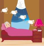 计数绵羊的老妇人睡着 库存例证