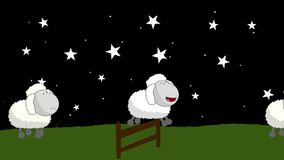 计数绵羊那跳跃在木篱芭上在晚上