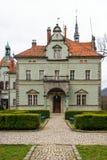 计数Schonborn狩猎城堡在Carpaty 从前- Beregvar村庄, Zakarpattja地区,乌克兰 在1890年修造 免版税库存图片