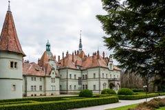 计数Schonborn狩猎城堡在Carpaty 从前- Beregvar村庄, Zakarpattja地区,乌克兰 在1890年修造 库存图片