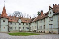 计数Schonborn狩猎城堡在Carpaty 从前- Beregvar村庄, Zakarpattja地区,乌克兰 在1890年修造 免版税库存照片