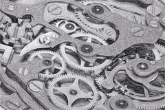 计时有齿轮灰色极谱3D翻译的剪影机械 图库摄影