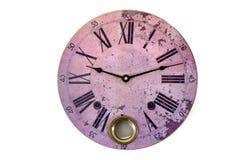 计时桃红色圆的葡萄酒形象罗马新年时间老时钟被隔绝的白色手表钟表 库存照片