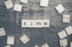 计时词计划与木字母表 库存照片
