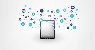 计算事互联网的云彩,现代数字技术概念动画以片剂为特色的,网络连接和象R 股票录像