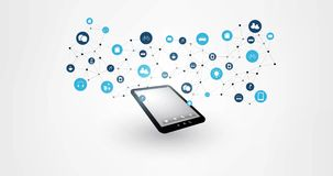计算事互联网的云彩,现代数字技术概念动画以片剂为特色的,网络连接和象R 影视素材