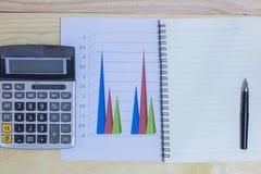 计算器、电话、笔和玻璃在财政图表,事务c 库存照片