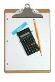 计算器剪贴板名字纸张铅笔标签 免版税库存照片