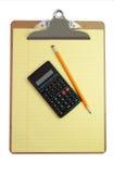 计算器剪贴板纸张铅笔 免版税库存图片