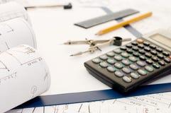 计算器剪贴板铅笔 免版税库存照片