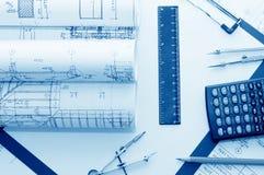 计算器剪贴板铅笔 免版税库存图片