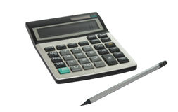 计算器和一支简单的铅笔 免版税库存图片