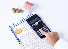 计算器和财政图与笔和硬币和房子纸 图库摄影