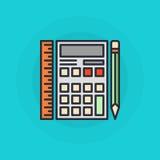 计算器平的标志 免版税图库摄影