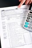 计算器收入回归税务 图库摄影